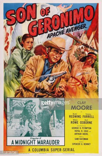 Apache Avenger poster US poster art from left Eileen Rowe Clayton Moore Rodd Redwing Chapter 11 'A Midnight Marauder' 1952