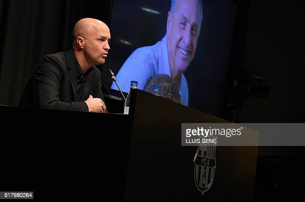 Son of late Dutch football star Johan Cruyff Jordi Cruyff gives a press conference at Camp Nou stadium in Barcelona on March 29 2016 Cruyff one of...