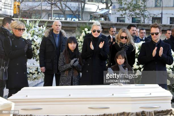 Son of late French singer Johnny Hallyday David Hallyday daughter Laura Smet Johnny's wife Laeticia their daughters Jade and Joy and French...