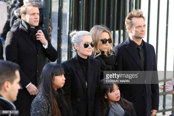 Son of late French singer Johnny Hallyday David Hallyday daughter Laura Smet wife Laeticia their daughters Jade Joy and French president Emmanuel...