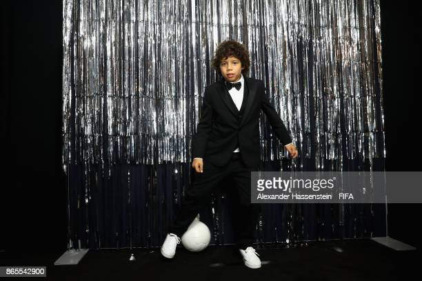 Son of Marcelo Enzo is pictured inside the photo booth prior to The Best FIFA Football Awards at The London Palladium on October 23 2017 in London...