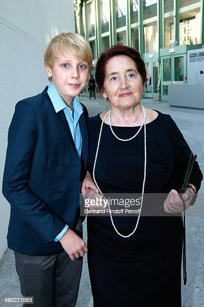 Son of Natalia Vodianova Lucas Portman with his great grandmother Varissa Gromova attend 'The strange city' Exhibition by Ilya and Emilia Kabakov at...