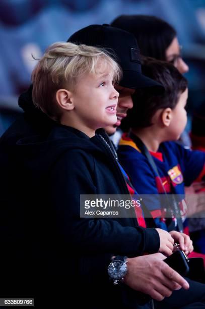 Son of Neymar Santos Jr Davi Lucca da Silva Santos looks on before the La Liga match between FC Barcelona and Athletic Club at Camp Nou stadium on...