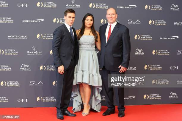 Son of Princess Stephanie of Monaco Louis Ducruet his fiancee Marie Chevallier Prince Albert II of Monaco arrive for the screening of the film 'Jack...