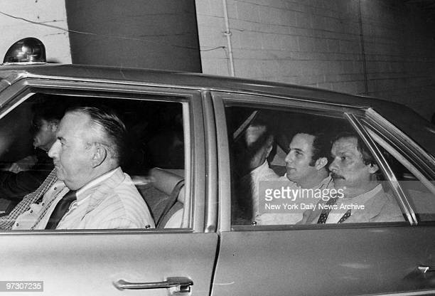 Son of Sam 44 Caliber shooting suspect David Berkowitz 24yearold Yonkers NY postal worker is in police car at Manhattan Police Headquarters for trip...