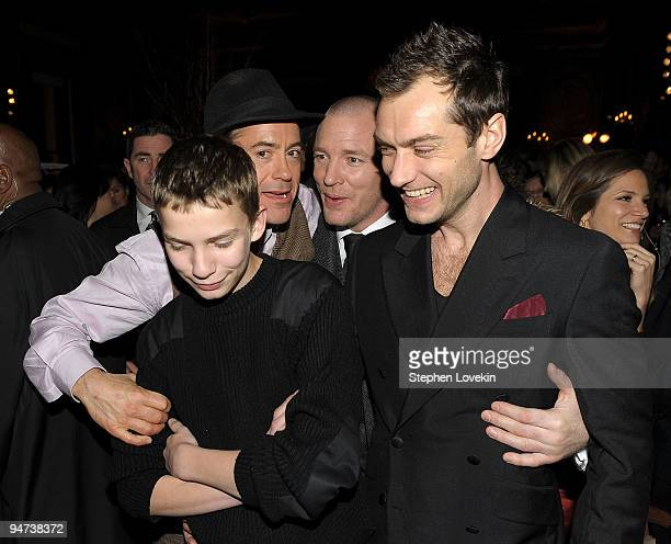 Son of Sting and Trudie Styler Giacomo Sumner actor Robert Downey Jr director Guy Ritchie and actor Jude Law attend the after party for the premiere...