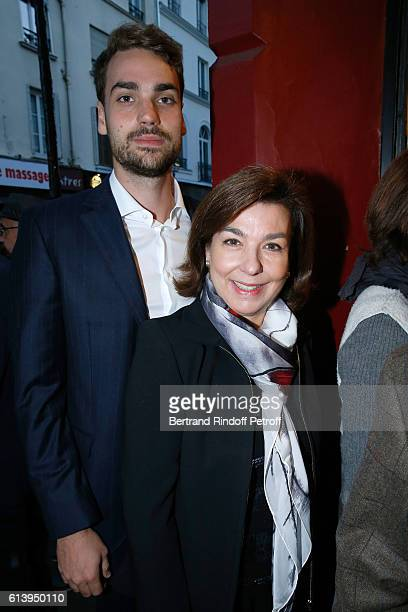 Son of Yves Montand Valentin Livi and his mother Carole Amiel attend the Ivo Livi ou le destin d'Yves Montand Theater Play at Theatre de la Gaite...