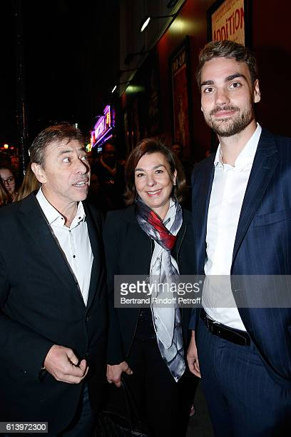 Son of Yves Montand Valentin Livi his mother Carole Amiel and Director of the Theater LouisMichel Colla attend the Ivo Livi ou le destin d'Yves...