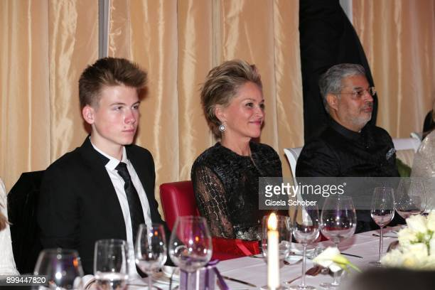 Son Roan Joseph Bronstein Sharon Stone and her partner Tikka Shatrujit Singh Kapurthala and sister Kelly Storm during the The Charity Gala benefiting...