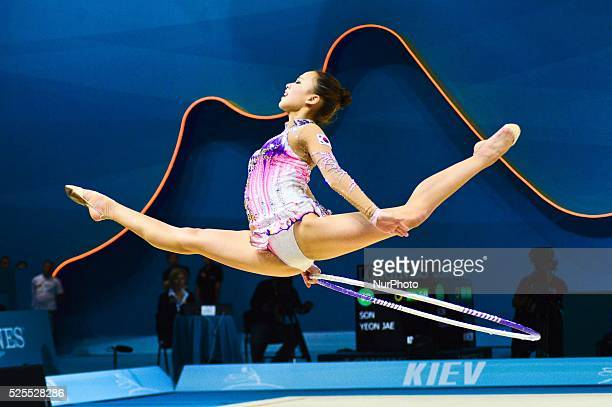 Son Yeon Jae of Korea is performing with a hoop during the first day of the World Championship of Rhythmic Gymnastics in Kiev Ukraine