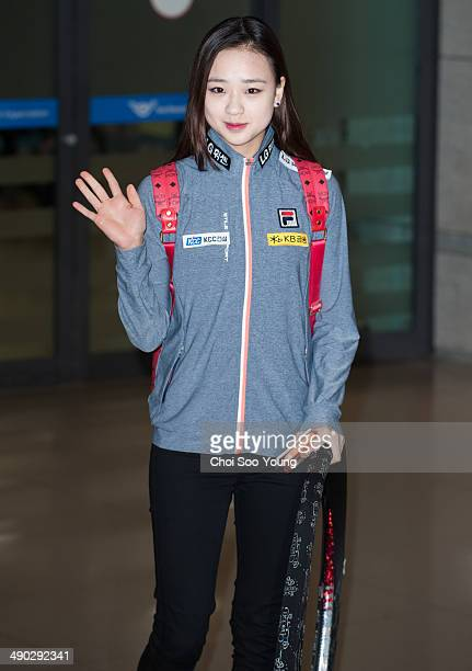 Son YeonJae is seen at Incheon International Airport on April 15 2014 in Incheon South Korea