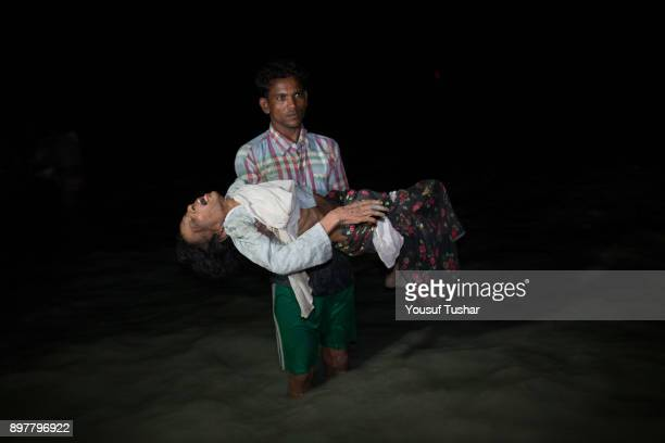 Sona Banu 70 years old lady arrived bangladesh by boat Boats full of people continue to arrive along the shores of the Naf River as Rohingya come in...
