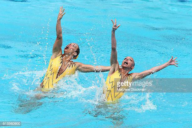 Sona Bernardova and Aizbeta Dufkova of Czech Republic compete in the Duets Technical Routine First Round during the FINA Olympic Games Synchronised...