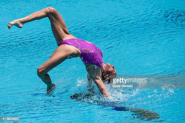 Sona Bernardova and Aizbeta Dufkova of Czech Republic compete in the Duets Free Routine First Round during the FINA Olympic Games Synchronised...