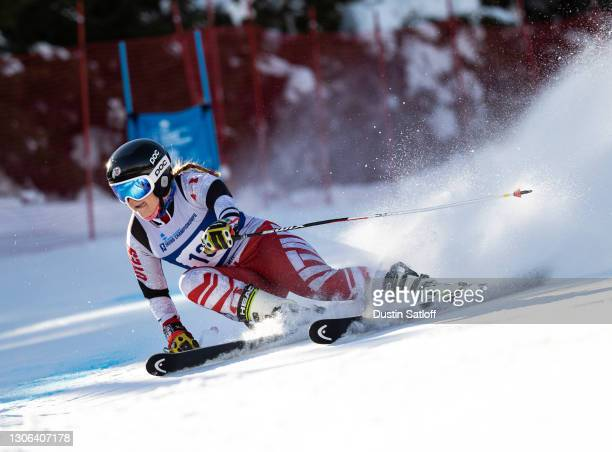 """Sona Moravcikova of the University of Utah during the first run of the women""""u2019s giant slalom on the first day of the NCAA Skiing Championships at..."""