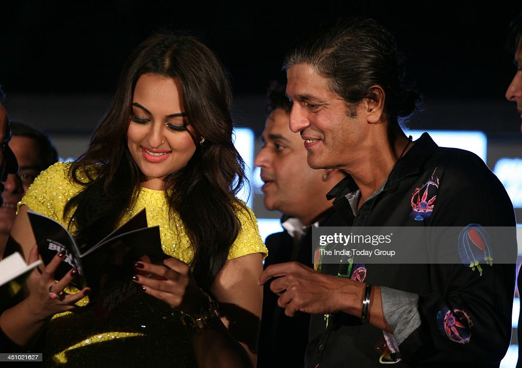 Sonakshi Sinha and Chunky Pandey during the press conference for the movie Bullett Raja in Mumbai