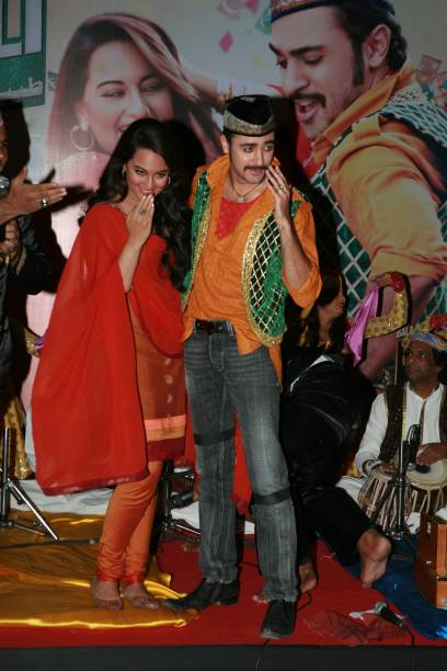 Sonakshi Sinha and Imran Khan perform to the song Taiyab Ali from `Once Upon a Time in Mumbaai Dobara` during its launch in Mumbai