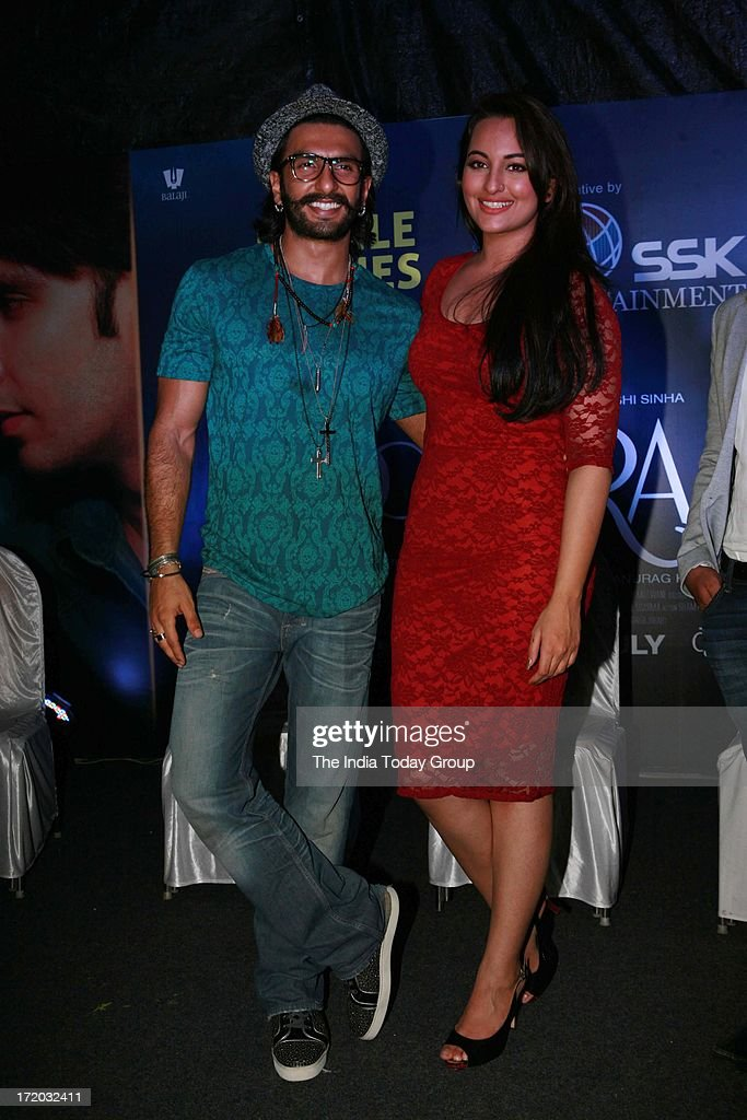 Sonakshi Sinha and Ranveer Singh during the promotion of their upcoming movie 'Lootera' at the Samsung Store Phoenix Lower Parel Mumbai
