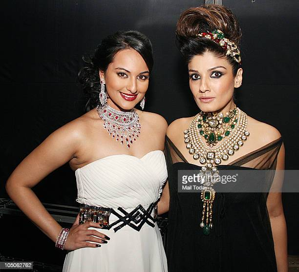 Sonakshi Sinha and Raveena Tandon at Day II of the HDIL Couture fashion week in Mumbai on October 7 2010