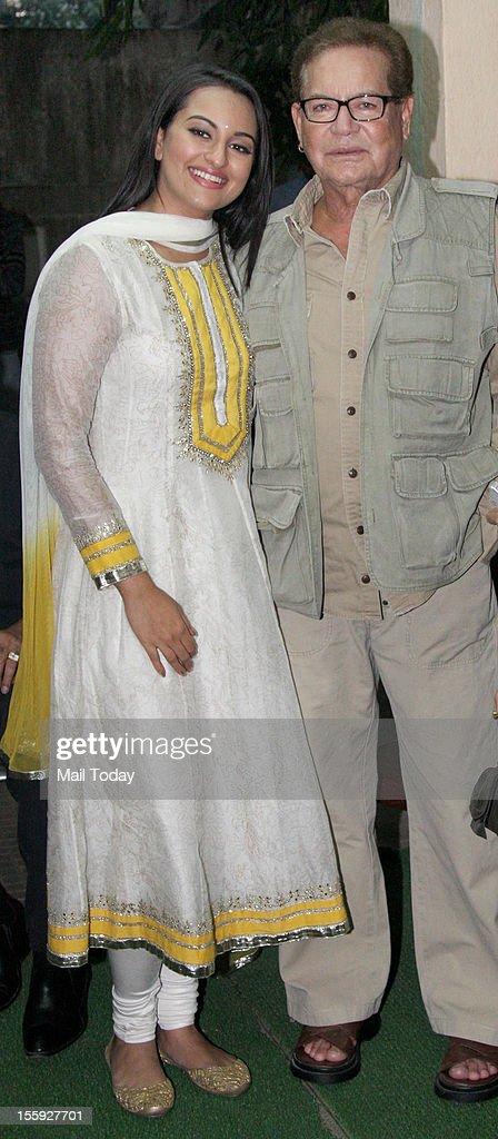 Sonakshi Sinha and Salim Khan during the screening of `Son of Sardar` held in Mumbai on 8th November 2012
