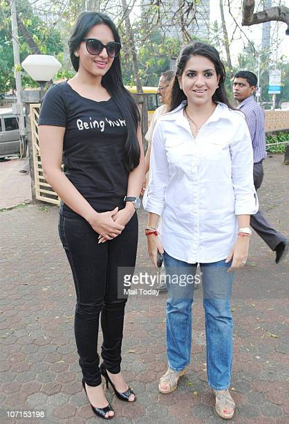 Sonakshi Sinha and Shaina NC during a function to pay tribute to the victims of the 26/11 Mumbai terror attacks on its second anniversary in Mumbai...