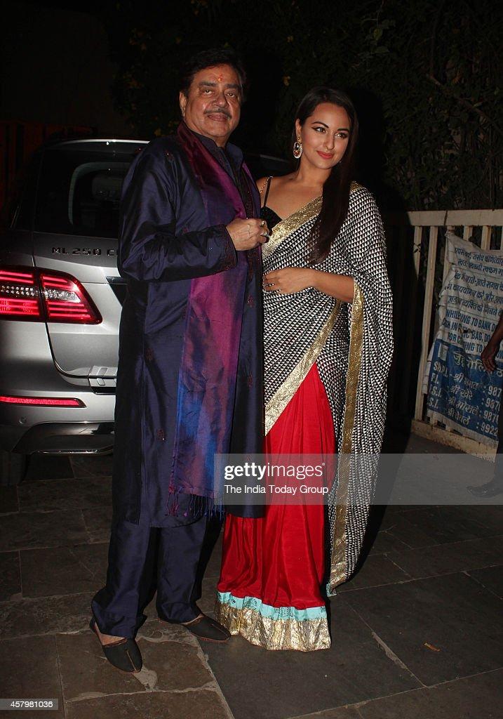 Sonakshi Sinha and Shatrughan Sinha at Amitabh Bachchans diwali party in Mumbai