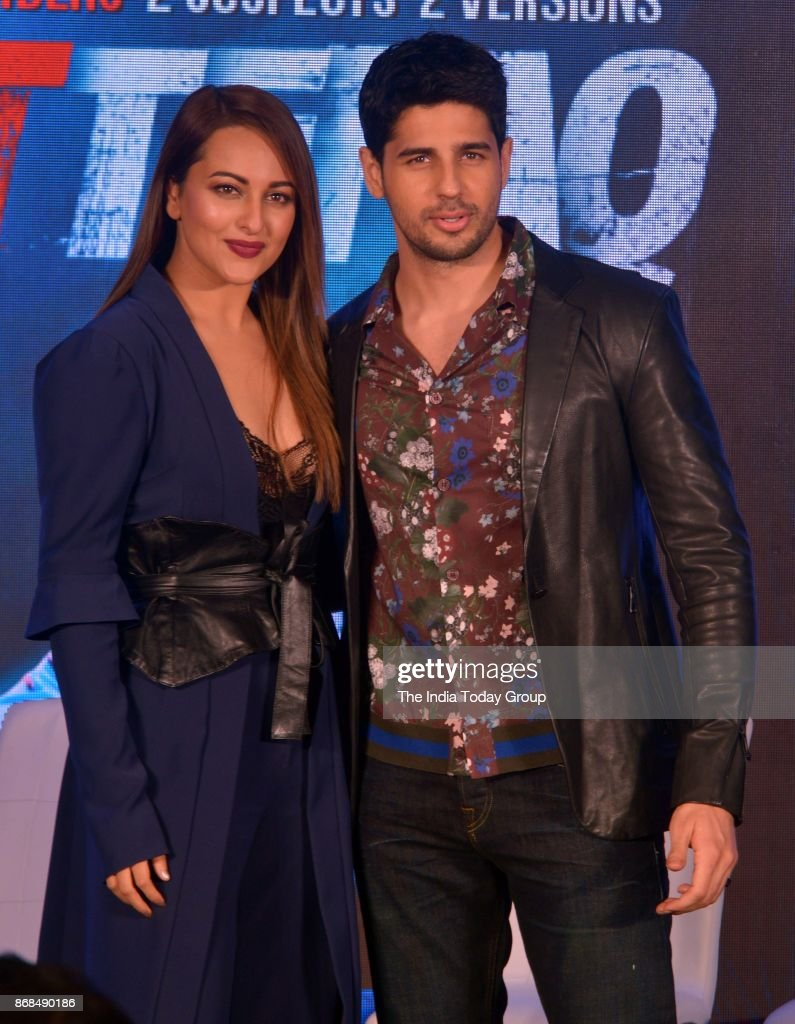 Sonakshi Sinha and Sidharth Malhotra during a promotional event of `ITTEFAQ` in Mumbai