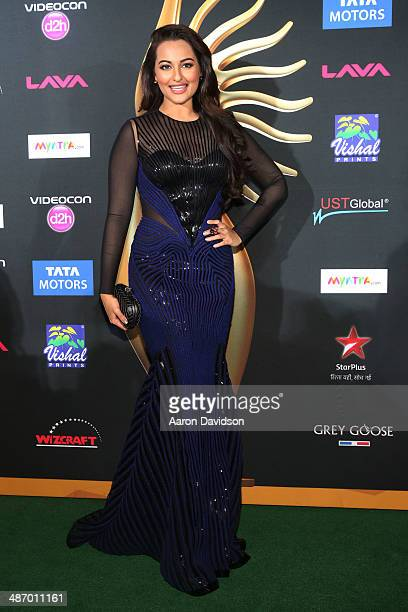 Sonakshi Sinha arrives to the IIFA Awards at Raymond James Stadium on April 26 2014 in Tampa Florida