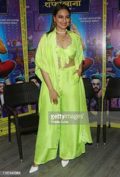 "Sonakshi Sinha attends the media interview for ""Khandaani Shafakhana"" on June 21, 2019 in Mumbai, India."