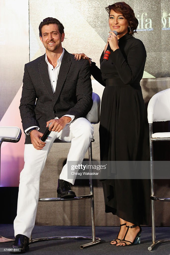 Sonakshi Sinha Hrithik Roshan attend the IIFA 2015 press conference held at Grand Hyatt on May 28 2015 in Mumbai India