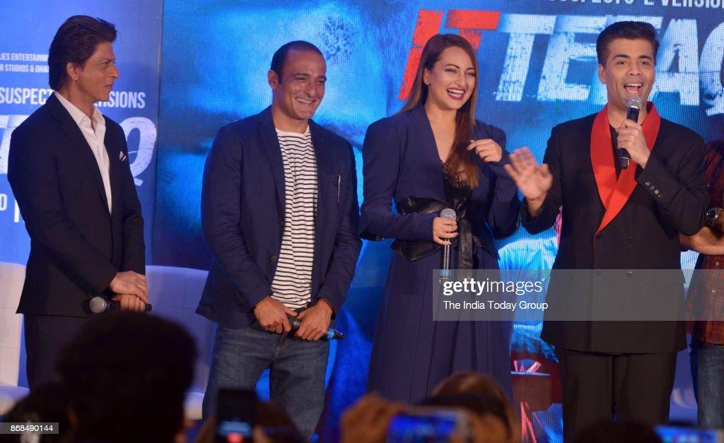 Sonakshi Sinha Karan Johar Shah Rukh Khan and Akshaye Khanna during a promotional event of `ITTEFAQ` in Mumbai