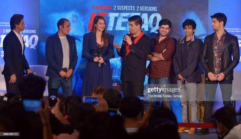 Sonakshi Sinha Karan Johar Shah Rukh Khan Sidharth Malhotra and Akshaye Khanna during a promotional event of `ITTEFAQ` in Mumbai