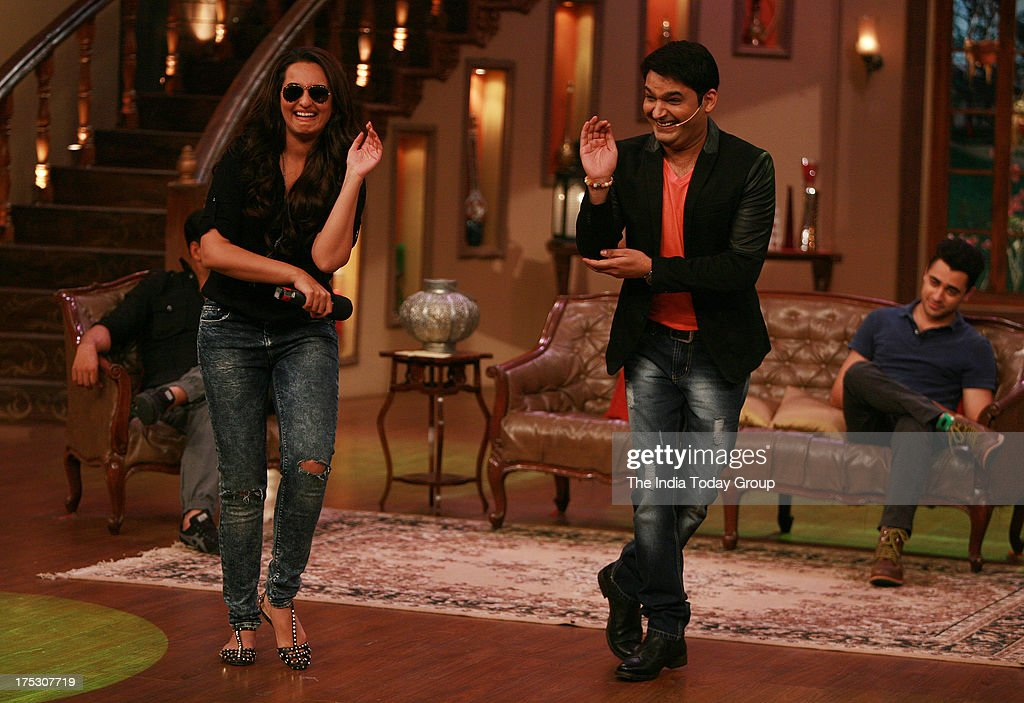 AUGUST 01 Sonakshi Sinha on the sets of Comedy Nights with Kapil with Kapil Sharma for the promotion of Once Upon a Time in Mumbaai 2 on 1st August...