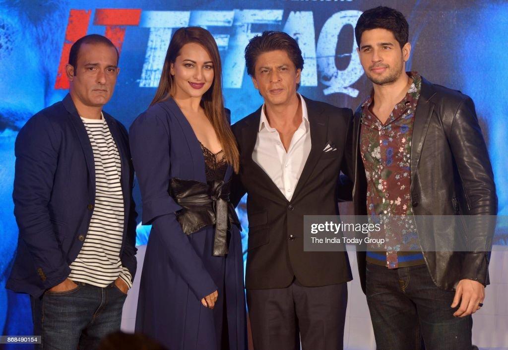 Sonakshi Sinha Shah Rukh Khan Sidharth Malhotra and Akshaye Khanna during a promotional event of `ITTEFAQ` in Mumbai