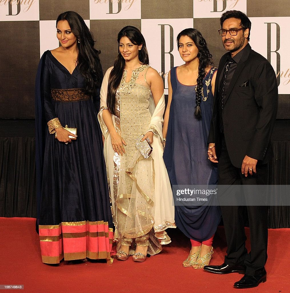'MUMBAI INDIA OCTOBER 10 Sonakshi Sinha Tanisha Kajol and Ajay Devgn during Amitabh Bachchan's 70th Birthday Party At Reliance Film City on Octobe