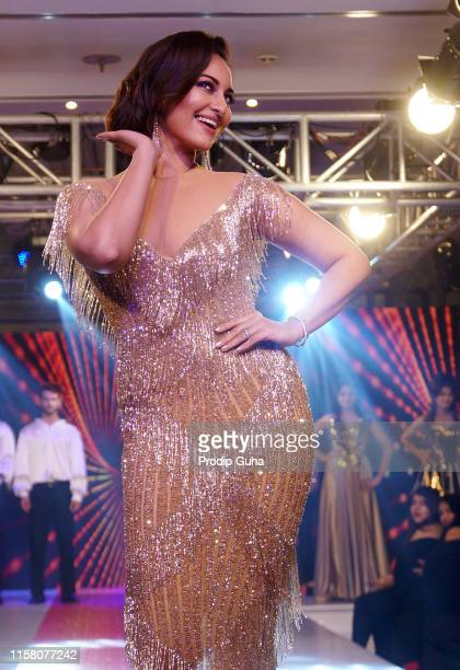 Sonakshi Sinha walks the ramp for the new Retro Remix collection at the Streax Professional mega hair show Hair Beyond on June 24 2019 in Mumbai India