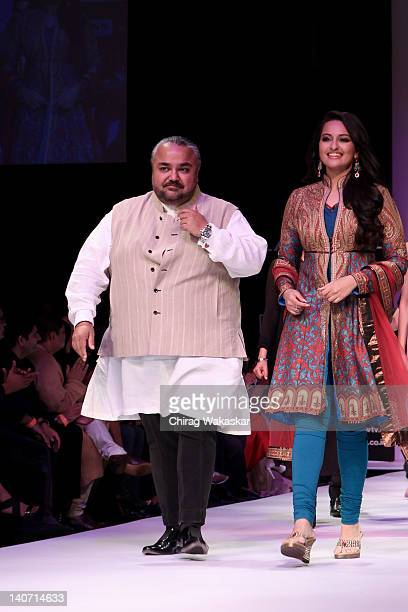 Sonakshi Sinha walks the runway with designer JJ Valaya at the Karmik show at Lakme Fashion Week Summer/Resort 2012 day 4 at the Grand Hyatt on March...