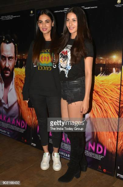 Sonal Chauhan and Amyra Dastur during the special screening of Kaalakaandi in Mumbai