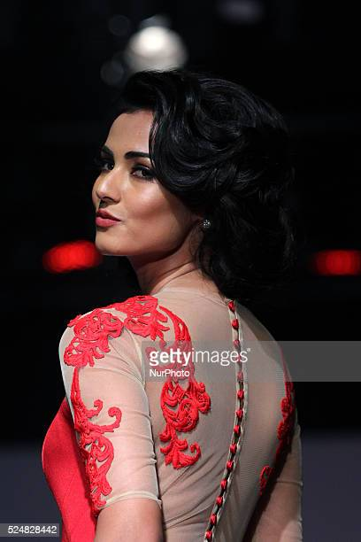 Sonal Singh Chauhan Indian fashion model and actress walks the ramp to showcase a creation By Indian designer Nikhita during the Fourth Day of Amazon...
