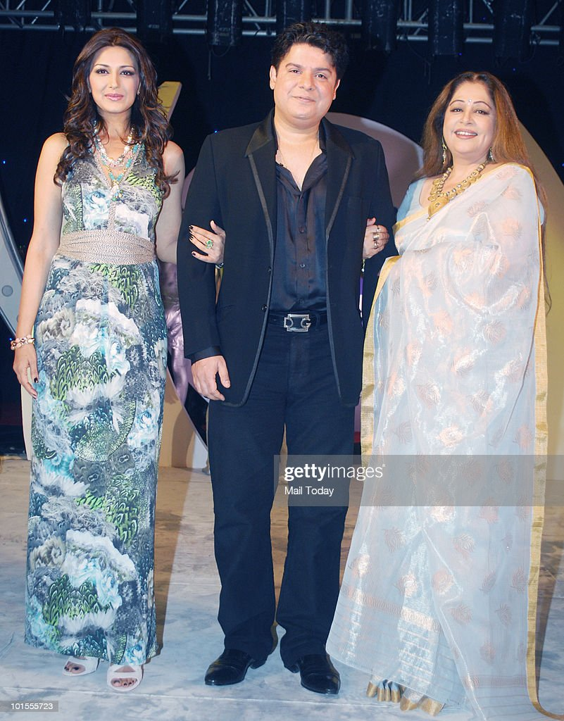 Sonali Bendre, Sajid Khan and Kirron Kher at the launch of the season 2 of the Colours show India's Got Talent in Mumbai on June 1, 2010.