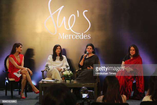 Sonali Gupta fashion designers Rina Dhaka MD of NutriHealth Dr Shikha Sharma and dancer Manjari Chaturvedi during the launch of Shes Mercedes an...