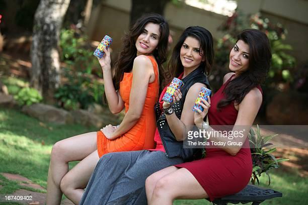 Sonali Sehgal Sunny Leone and Archana Vijayan shoot for Sachin Joshi's XXX energy drink in Mumbai on 24th April 2013