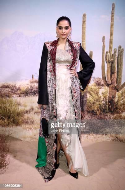 Sonam Kapoor Ahuja attends the gala dinner in honour of Stella McCartney winner of the Global VOICES Award for 2018 during #BoFVOICES on November 30...