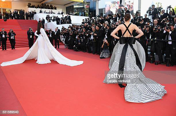Sonam Kapoor and Araya A Hargate attend the From The Land Of The Moon premiere during the 69th annual Cannes Film Festival at the Palais des...