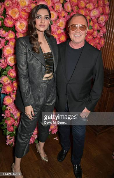 Sonam Kapoor and Michael Kors attend a private dinner hosted by Michael Kors to celebrate the new Collection Bond St Flagship Townhouse opening on...