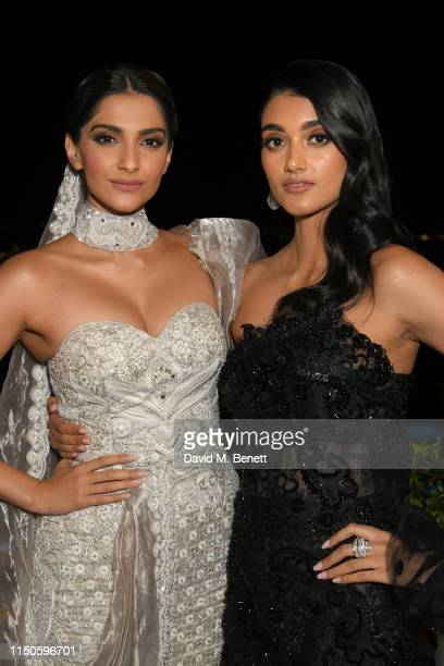 Sonam Kapoor and Neelam Gill attend the Chopard Parfums 'La Nuit Des Rois' dinner party hosted by Caroline Scheufele and Patrizio Stella at Hotel...