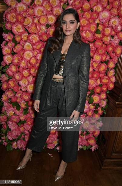 Sonam Kapoor attends a private dinner hosted by Michael Kors to celebrate the new Collection Bond St Flagship Townhouse opening on May 9 2019 in...