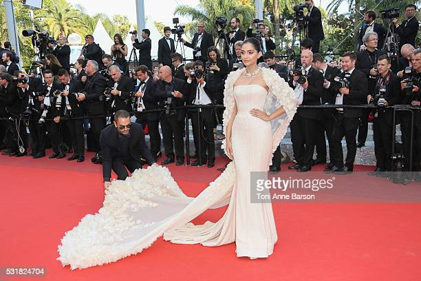 Sonam Kapoor attends a screening of Loving at the annual 69th Cannes Film Festival at Palais des Festivals on May 16 2016 in Cannes France
