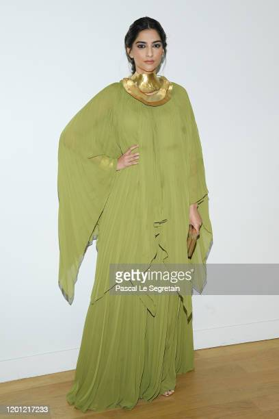 Sonam Kapoor attends the Elie Saab Haute Couture Spring/Summer 2020 show as part of Paris Fashion Week on January 22 2020 in Paris France