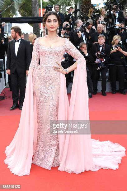 Sonam Kapoor attends the 'The Meyerowitz Stories' screening during the 70th annual Cannes Film Festival at Palais des Festivals on May 21 2017 in...